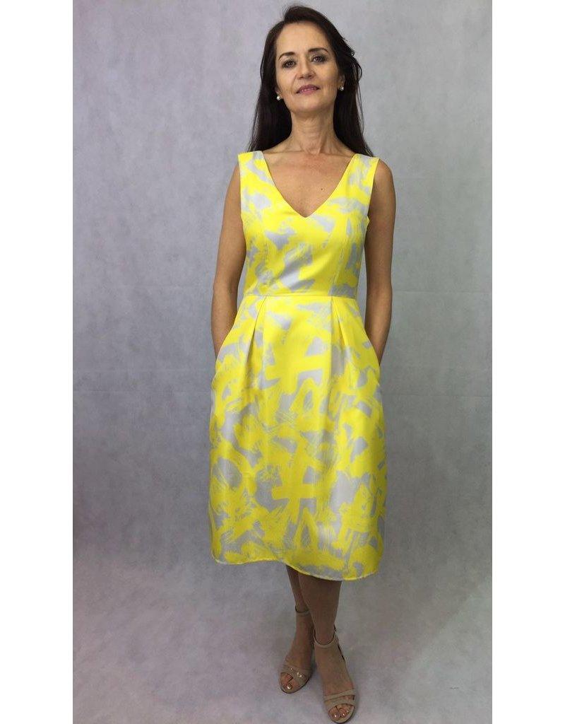Fee G Fee G - Yellow Flared Print Dress