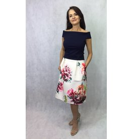 Fee G Floral Flared Midi Skirt