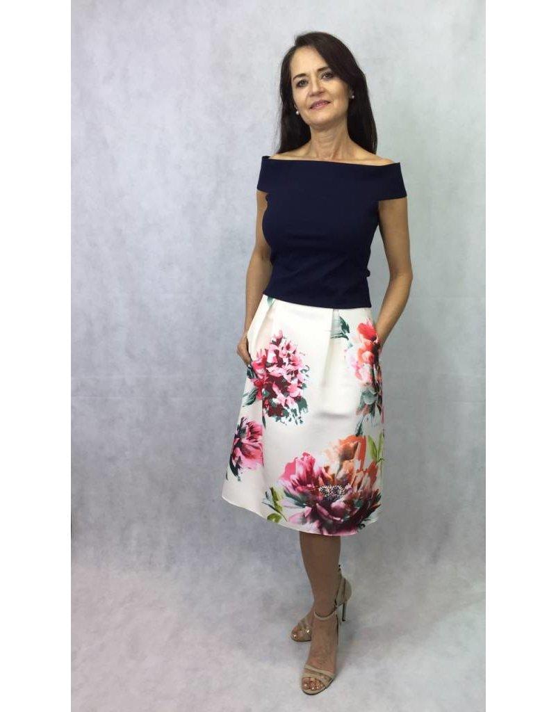 Fee G Fee G - Floral Flared Midi Skirt