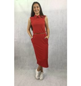 La Fee Maraboutee Long Red Belted Dress