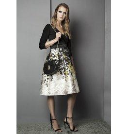 Fee G Leaf Print Wrap Bodice Dress