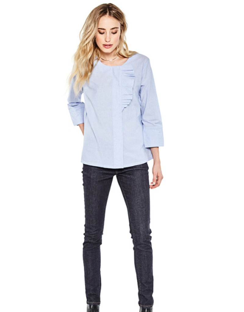 10 Feet 10 Feet - Fancy Short Long Sleeve Blouse with Ruffle details