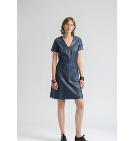 La Fee Maraboutee Faux Leather Cap Sleeved Dress