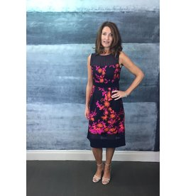 Fee G Pink and Orange Print A-Line Dress