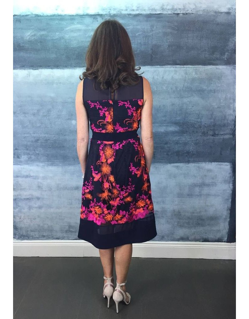 Fee G Fee G - Pink and Orange Print A-Line Dress