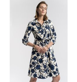 La Fee Maraboutee Cream & Blue Printed Belted Shirt Dress