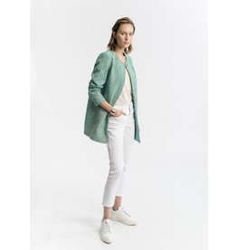La Fee Maraboutee Mint Green Coat, edge to edge leopard print coat.