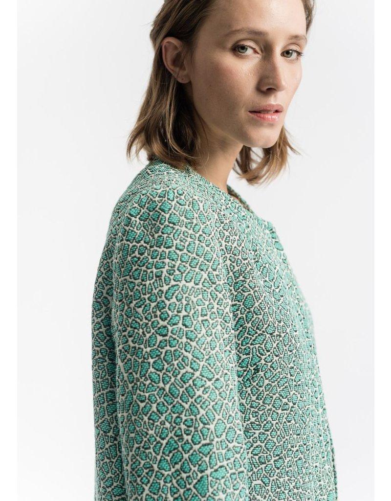 La Fee Maraboutee La Fee Maraboutee - Mint Green Coat, edge to edge leopard print coat.