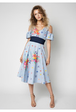 Fee G Blue Candy Stripe and Floral Dress