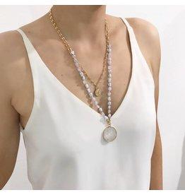 Bcharmd Sera Blue Lace Agate White Quartz Necklace