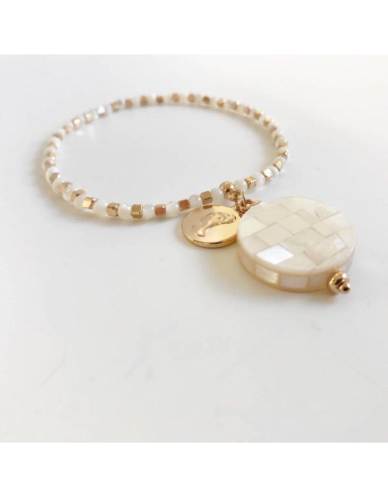 Bcharmd Alexa White Seashell Abalone Shell Bracelet