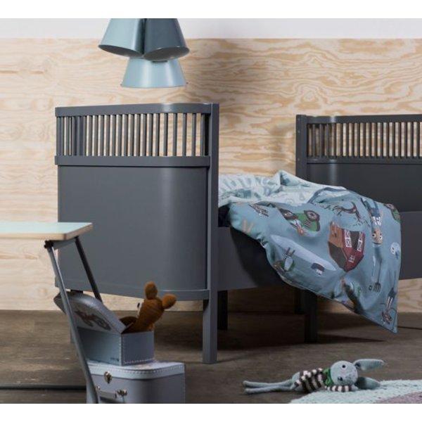 Sebra bed blauw hout