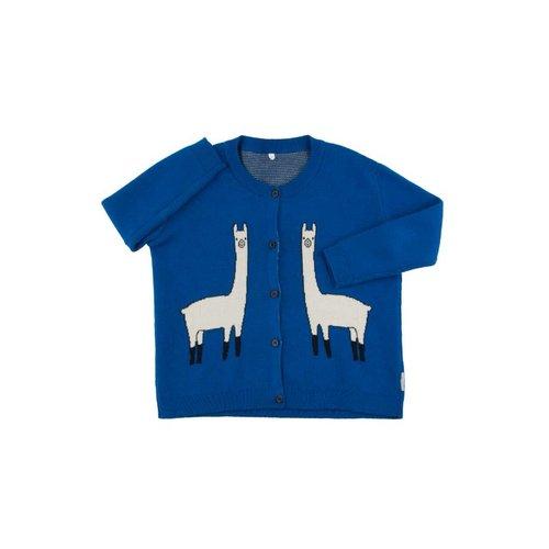Tinycottons llama cardigan blauw