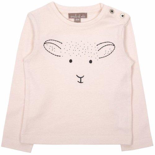 Emile et Ida Tee shirt rose agneau