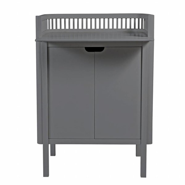 changing unit with doors grey wood