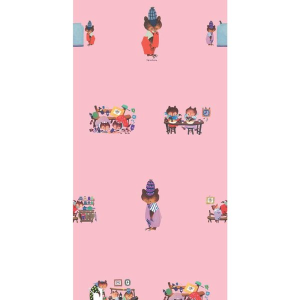 Busy bears wallpaper pink