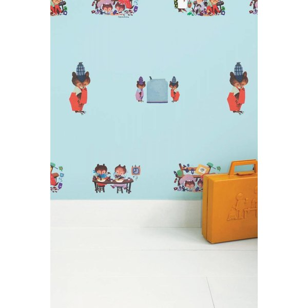 Busy bears wallpaper blue