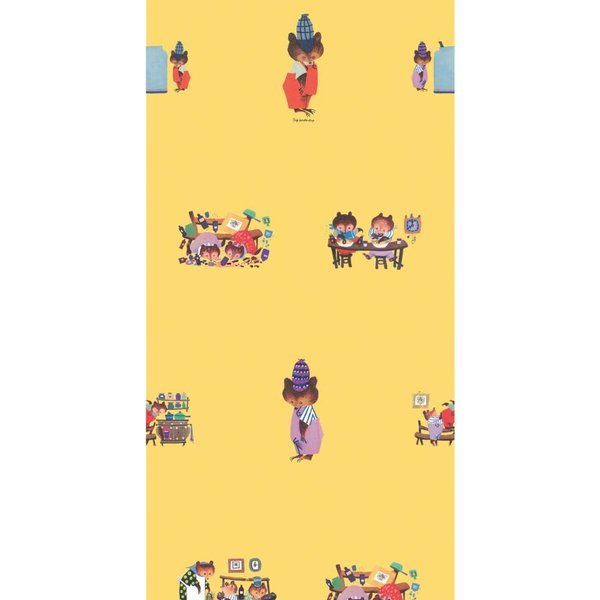 Busy bears wallpaper yellow