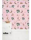 Bosvrienden behang roze