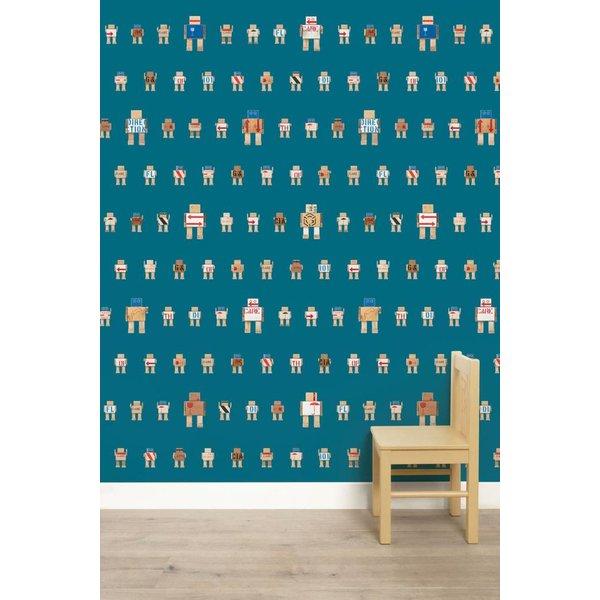 Rijkswachters Robots wallpaper petrol small