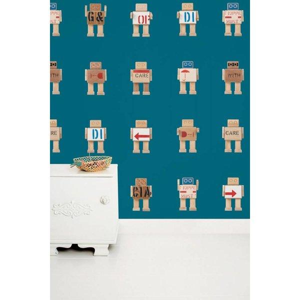 Rijkswachters Robots wallpaper petrol
