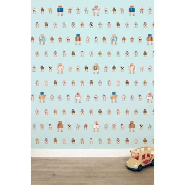 Rijkswachters Robots wallpaper blue small