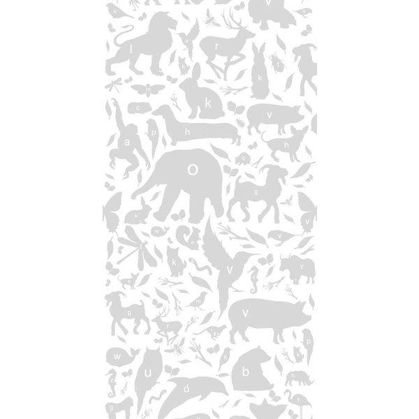 Dieren ABC Behang lichtgrijs