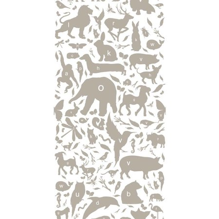 KEK Amsterdam Animals ABC Wallpaper taupe