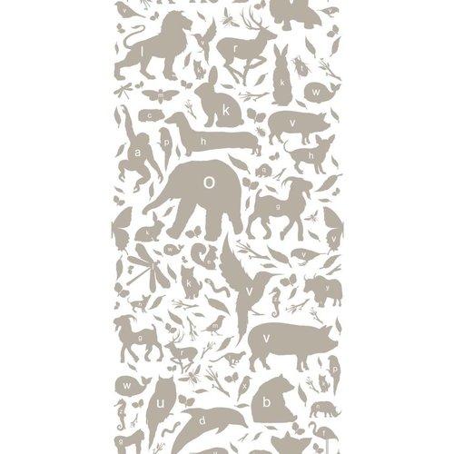 KEK Amsterdam Animals ABC Wallpaper taupe