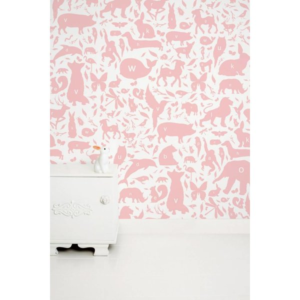 Dieren ABC Behang roze