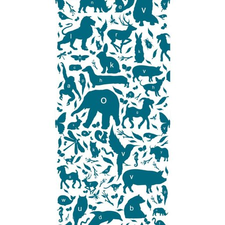 KEK Amsterdam Animals ABC Wallpaper petrol