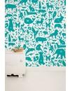Animals ABC Wallpaper Turquoise