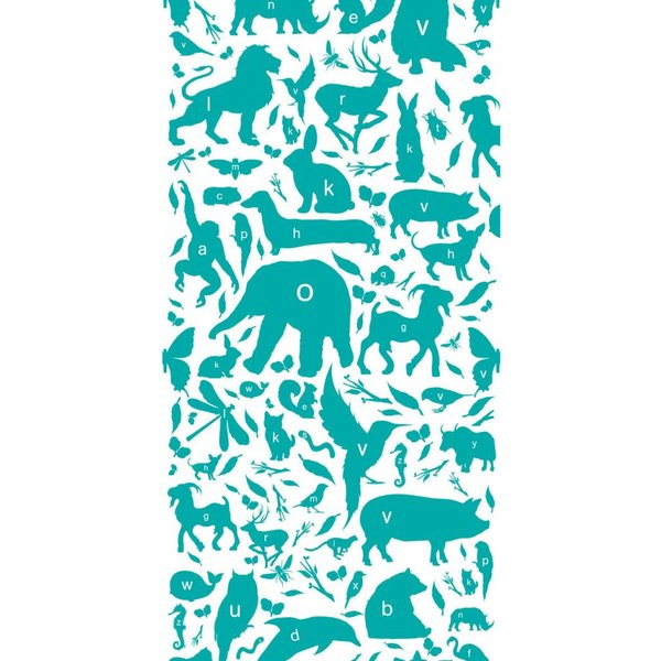 Dieren ABC Behang Turquoise