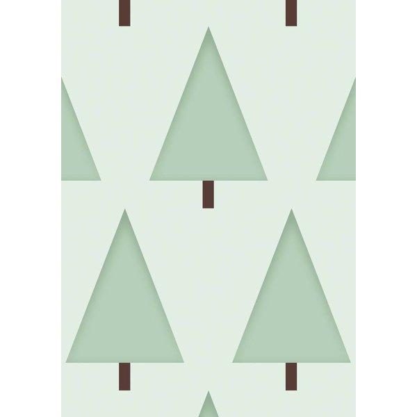 Dennenboompjes behang