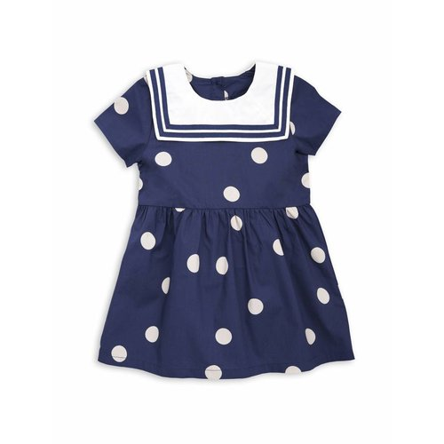 Mini Rodini Dot woven Sailor Dress navy jurk
