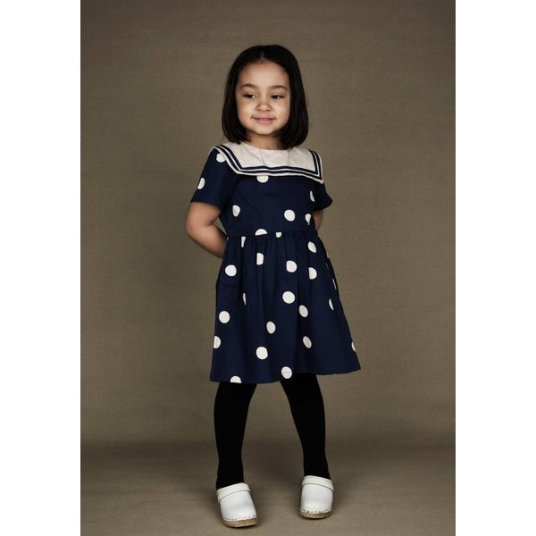 Dot woven Sailor Dress navy jurk