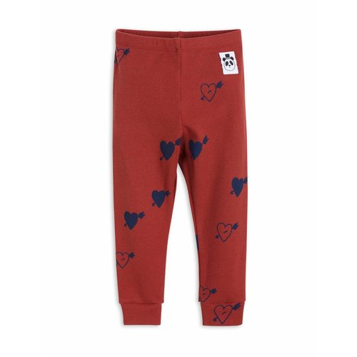 Mini Rodini Heart Rib Leggings Red