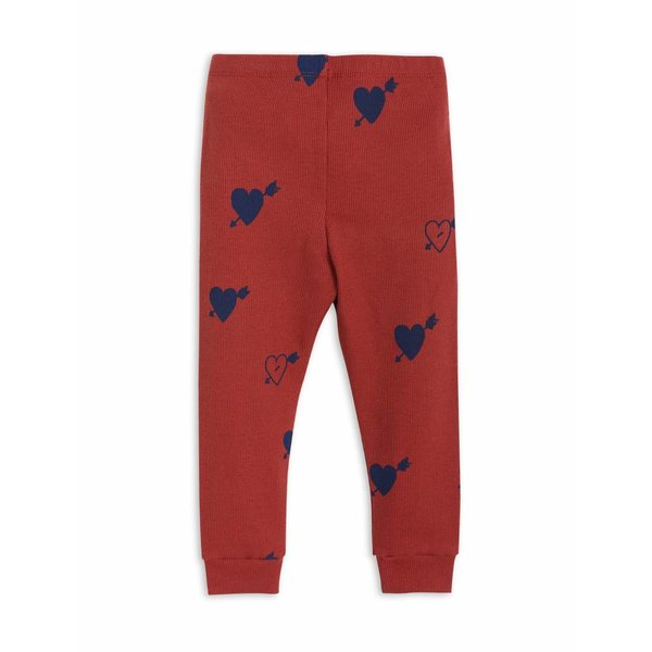 Heart Rib Leggings Red