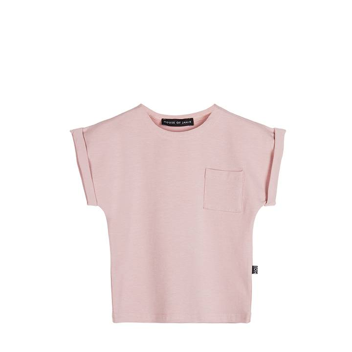House of Jamie Batwing Tee Powder Pink - Leaves and Feathers