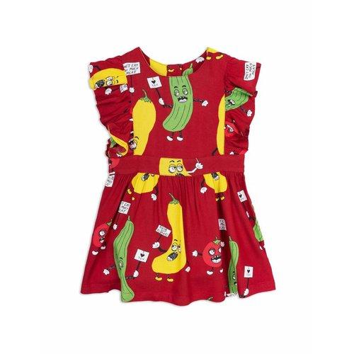 Mini Rodini Veggie Woven Ruffled Dress Red