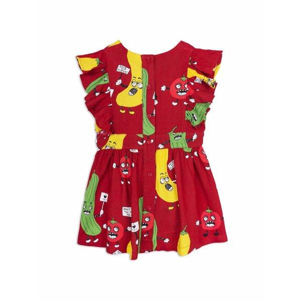 Veggie Woven Ruffled Dress Red jurk