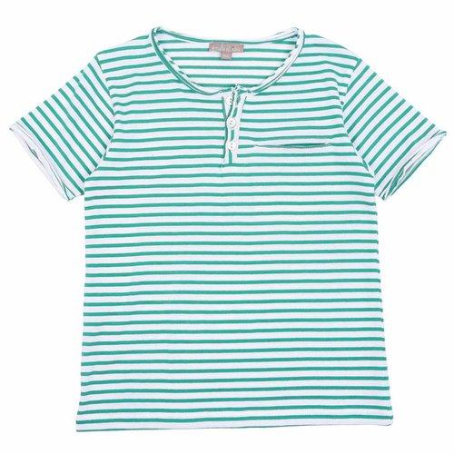 Emile et Ida Tee Shirt Vert Blanc