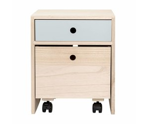 Bloomingville bedside table blue leaves and feathers watchthetrailerfo