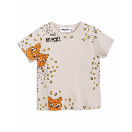 Mini Rodini T Shirt - Cat Advice SS Tee Beige