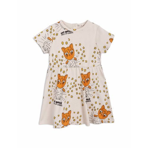 Mini Rodini Jurk - Cat Advice SS Dress Beige