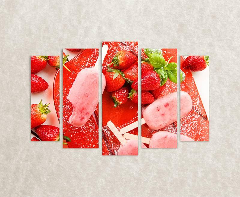 Canvas foto Strawberry ice cream