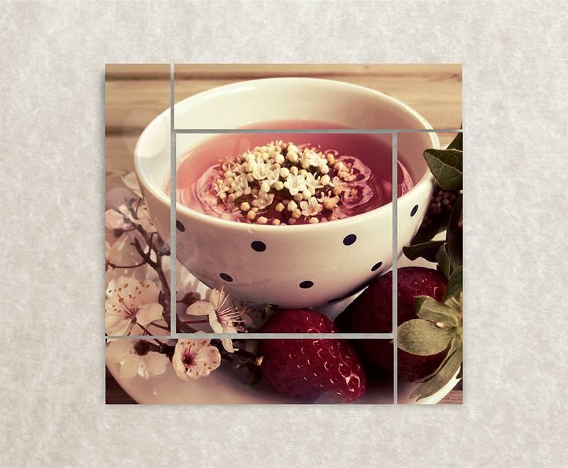 Canvas foto Aardbeien thee