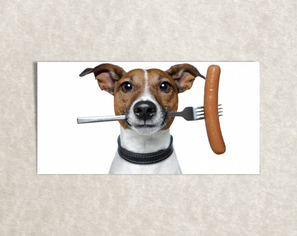 Canvas foto van Hond en Worst