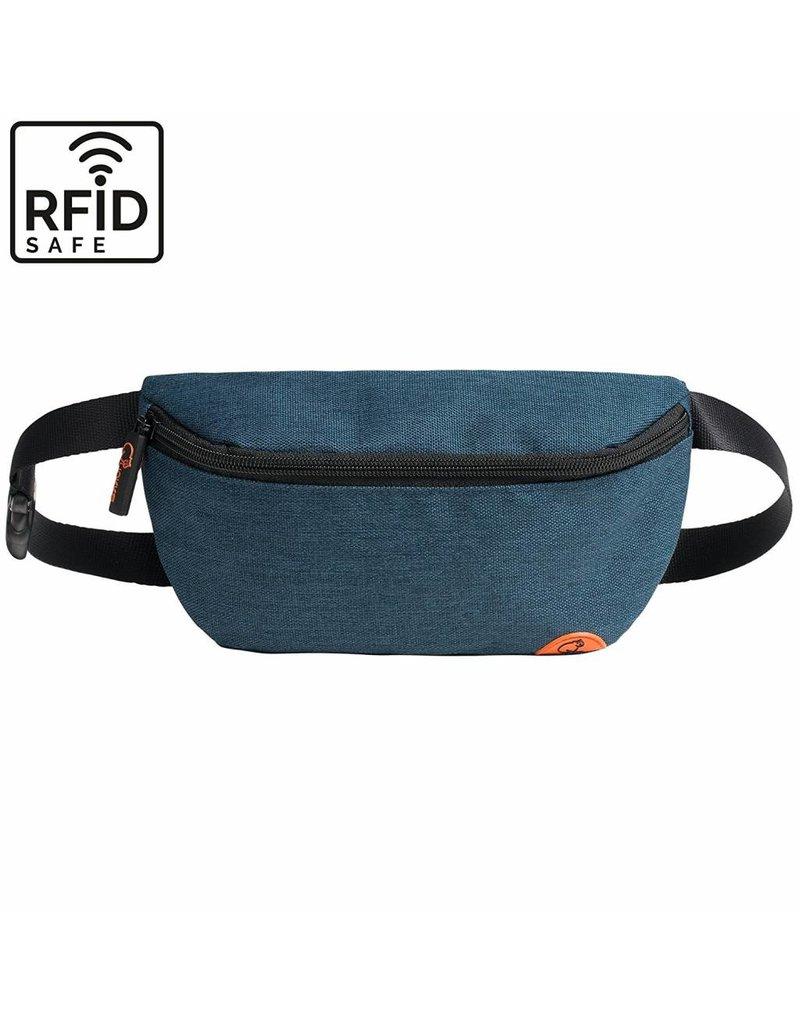 """Stylische, hochwertige RFID Blocker Bauchtasche  - Gürteltasche """"Melbourne"""" in blau"""