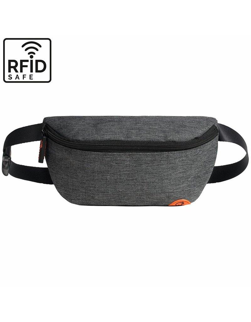"""Stylische, hochwertige RFID Blocker Bauchtasche  - Gürteltasche """"Melbourne"""" in anthrazit grau"""
